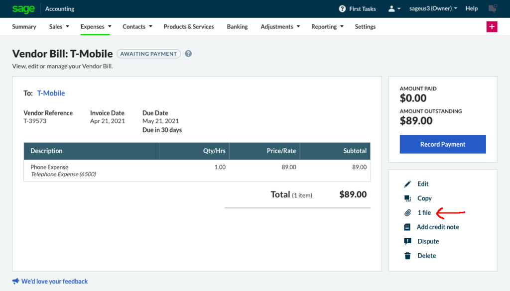 Attach a file to a Sage Accounting purchase invoice